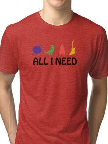 All I Need (Planet, Dinosaur, Rocket, Guitar) Tri-blend T-Shirt