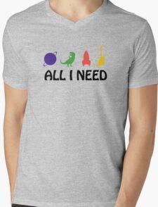 All I Need (Planet, Dinosaur, Rocket, Guitar) Mens V-Neck T-Shirt