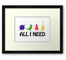 All I Need (Planet, Dinosaur, Rocket, Guitar) Framed Print