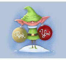 "Elf Earrings ""Thank You"" card by Derek Stewart"