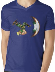Guile Flash Kick Mens V-Neck T-Shirt