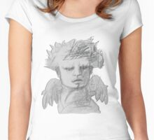 Archangel Michael Original Drawing by Alice Iordache Women's Fitted Scoop T-Shirt