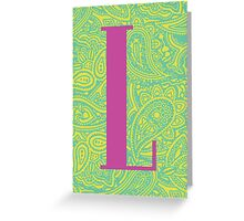 Paisley Print Letter 'L' Greeting Card