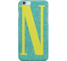 Paisley Print Letter 'N' iPhone Case/Skin