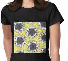 Yellow Sunflower in Black and White Hand Drawing Womens Fitted T-Shirt