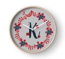 Scandinavian Monogram K Clock