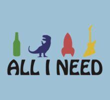 All I Need (beer, dinosaur, rocket, guitar) One Piece - Short Sleeve