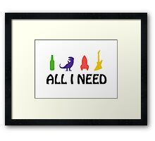 All I Need (beer, dinosaur, rocket, guitar) Framed Print