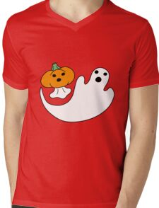 Ghost and Pumpkin Ghost Mens V-Neck T-Shirt