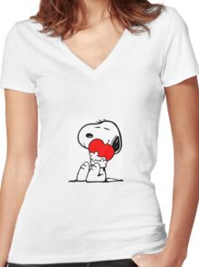 Snoopy holding a heart Women's Fitted V-Neck T-Shirt