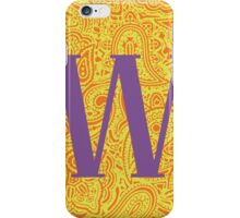 Paisley Print Letter 'W' iPhone Case/Skin