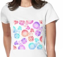 Watercolor Gradient Flowers in Pink Purple Blue Womens Fitted T-Shirt
