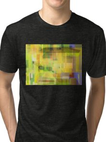 Spring green and yellow mosaic pattern Tri-blend T-Shirt