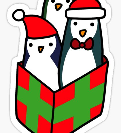 Christmas Gift Penguins Sticker
