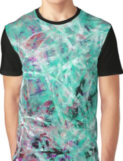 Abstract Expressionist Dance in Light Green, Red, Black and White Graphic T-Shirt