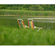 Lakeside Chairs Photographic Print