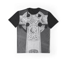 Celtic Stone Cross At Sunset in Black and White Graphic T-Shirt
