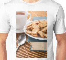 White plate with cookies on the old book  Unisex T-Shirt