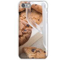 Transparent cup with milk and oatmeal cookies iPhone Case/Skin