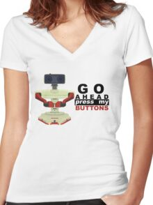 Robot R.O.B. Vector Women's Fitted V-Neck T-Shirt