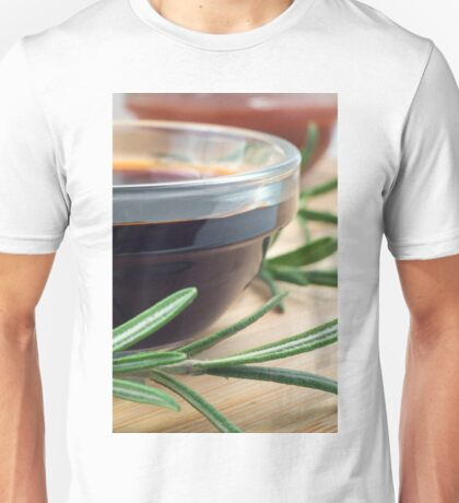 Soy sauce in a glass and a sprig of rosemary Unisex T-Shirt