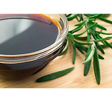 Defocused and blurred image of soy sauce Photographic Print