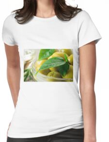 Macro view of the olives with green leaves close-up Womens Fitted T-Shirt