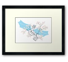 Cherry Tree Dragon - White and Blue Framed Print