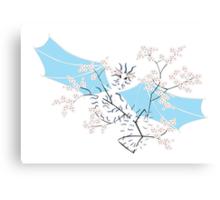 Cherry Tree Dragon - White and Blue Canvas Print