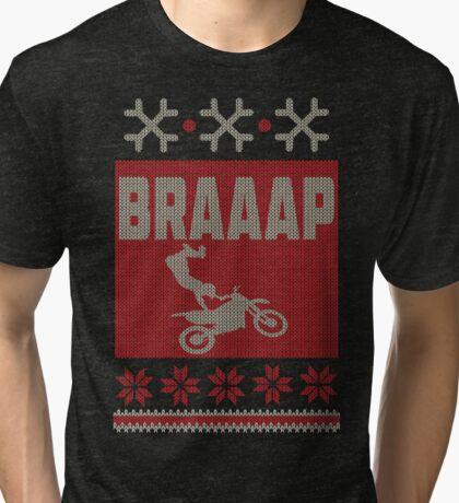 Dirt Bike, Braaap Christmas Tri-blend T-Shirt