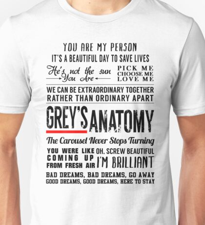 Grey's Anatomy Quotes - All in one T shirt Unisex T-Shirt