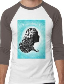 beautiful girl silhouette  Men's Baseball ¾ T-Shirt
