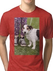 cute dog with baby Tri-blend T-Shirt