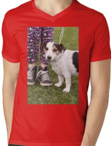 cute dog with baby Mens V-Neck T-Shirt