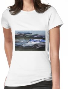 boat on the river Womens Fitted T-Shirt