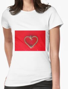 old door with heart Womens Fitted T-Shirt