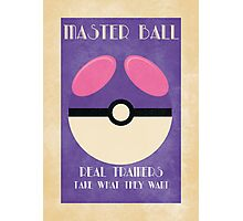 Retro Pokemon Poster - Masterball Photographic Print