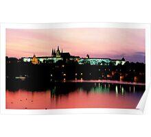 Prague Castle, pink sky Poster