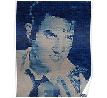 Pixelated Blue Elvis Painting Poster