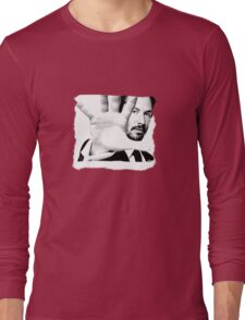 Keanu Reeves (Black and White Silent Attitude) Long Sleeve T-Shirt