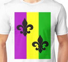 Fleur de Lis with Mardi Gras colors Unisex T-Shirt