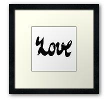Watercolor ink lettering word love Framed Print