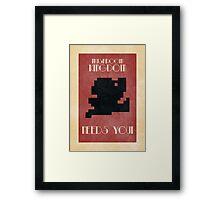 Retro Mario Poster - Mushroom Kingdom Needs You! Framed Print