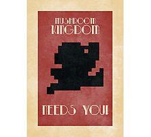 Retro Mario Poster - Mushroom Kingdom Needs You! Photographic Print