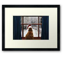 Leo and so much snow! Framed Print