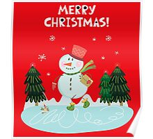 Cute Fun Snowman  and Merry Christmas Lettering Poster