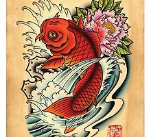 Koi with Peony by MikeFrench