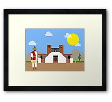 A Mexican in the village of near church Framed Print