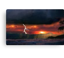 sunset beach storm lightning ocean water trees mountain landscape seascape Canvas Print