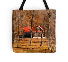Secluded Red Roof Cottage in the Woods - Fall Autumn Time w/ Orange Leaf Trees Tote Bag